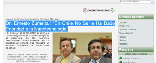 """Dr. Ernesto Zumelzu: """"En Chile No Se le Ha Dado Prioridad a la Nanotecnología"""""""